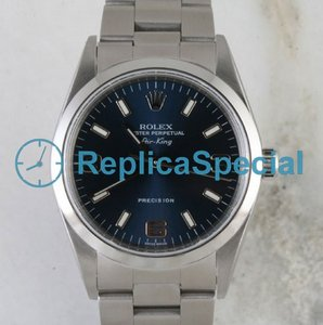 Rolex Airking 114200BLASO Mens Stainless Steel Case Blue Dial Watch